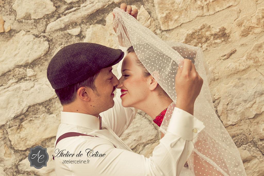 Mariage vintage, années 50, couple, femme, homme, séance extérieur (4)